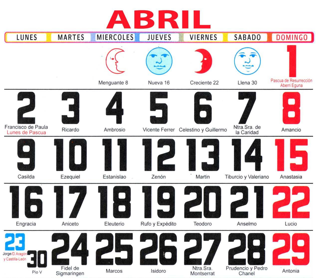 Calendario Con Santos.Calendario 2018 Con Santoral Y Lunas
