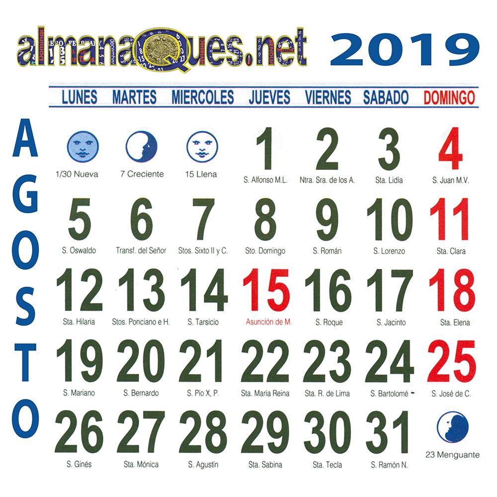 Calendario Con Santos.Calendario 2019 Con Santoral Y Lunas