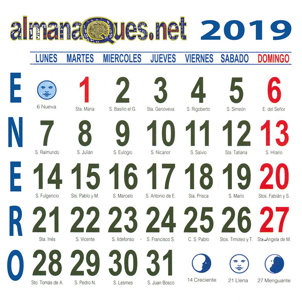 Calendario Santoral.Calendario 2019 Con Santoral Y Lunas