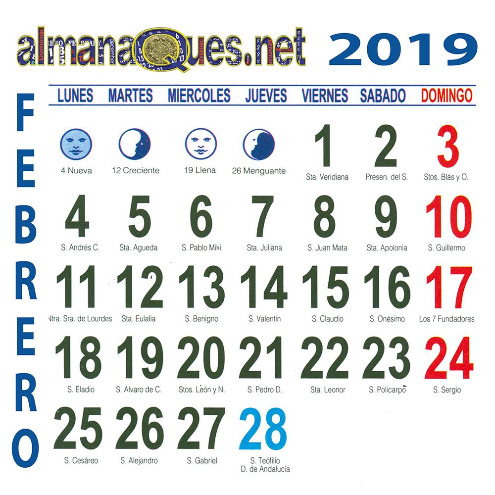 Calendario Santoral 2019.Calendario 2019 Con Santoral Y Lunas
