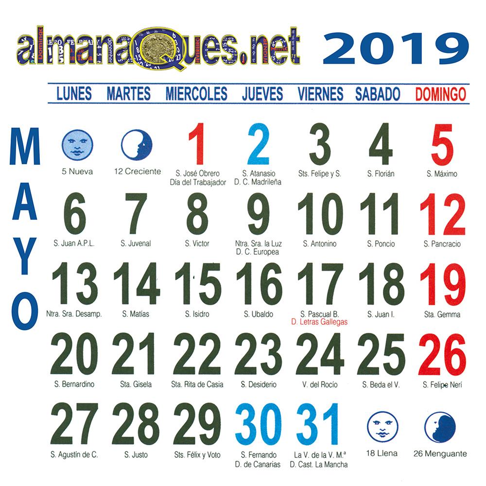 Calendario 2019 Con Santoral Y Lunas